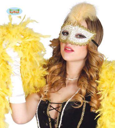 sexy venezianische Maske in gold mit Federn und Strass für Damen