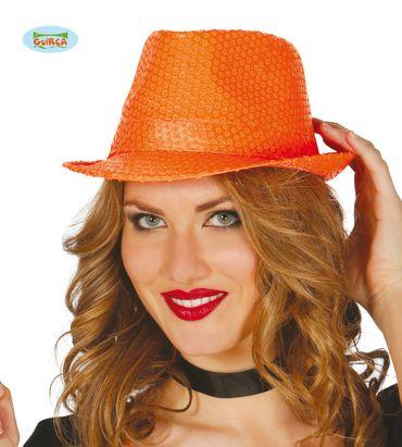 Pailletten Hut neon orange für Damen