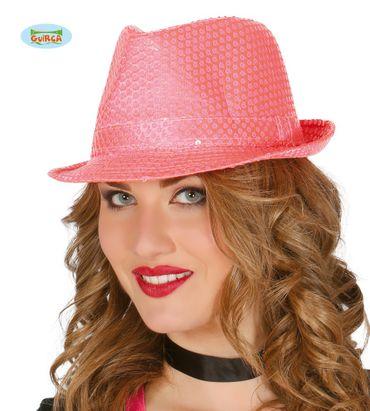 Pailletten Hut neon pink für Damen
