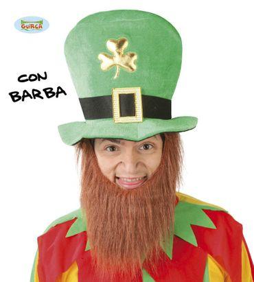 grüner Kobold Hut mit Bart für Herren