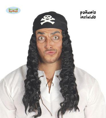 schwarze lange Piraten Perücke mit Kopftuch für Herren