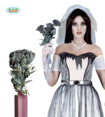Schwarzer Horror Braut Blumenstrauß 65cm