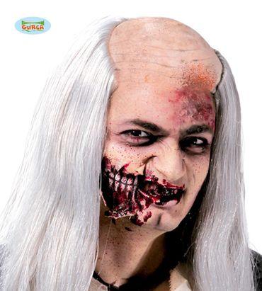 graue langhaarige Zombie Perücke mit Glatze für Herren