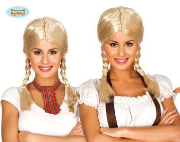blonde Schulmädchen Damen Perücke mit geflochtenen Zöpfen