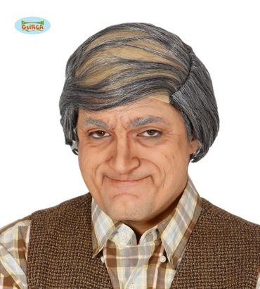 graue Opa Perücke mit Glatze für Herren