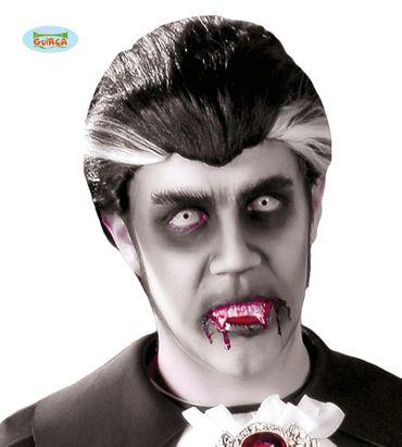 schwarze Dracula Perücke für Herren