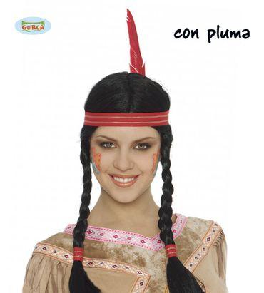 Indianerin Damen Perücke mit Stirnband und Feder für Damen