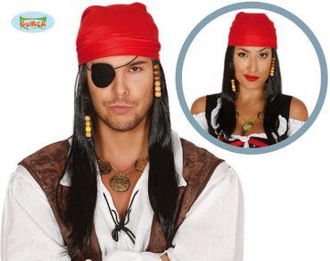 schwarze lange Piraten Perücke mit rotem Kopftuch für Erwachsene