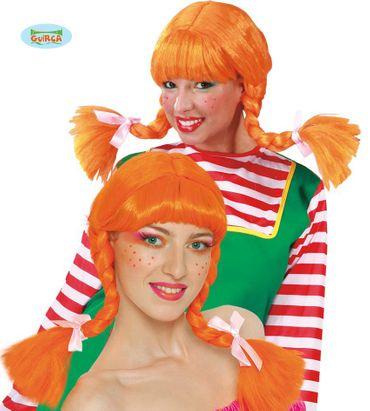 orange Langhaar Perücke mit geflochtenen Zöpfen für Damen
