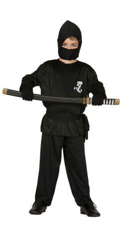 Schwarzer Ninja Kämpfer Karneval Fasching Kostüm für Jungen Held Gr. 110-146