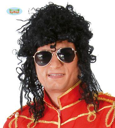 Lockige schwarze King of Pop Perücke Herrenperücke