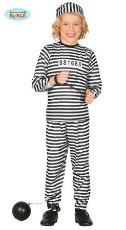 Gefangener Sträfling - Kostüm für Kinder Gr. 110 - 146