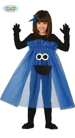 blaues Monster Kleid für Mädchen Gr. 98-134