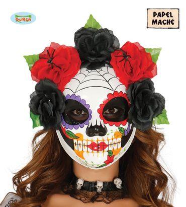 bunte Skelett Maske mit Blumen für Damen