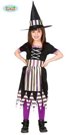 gestreifte Kinder Hexe Kostüm für Mädchen Gr. 98-146
