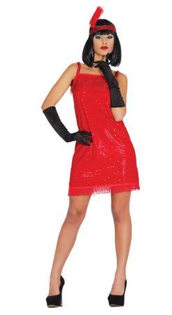 rotes Charleston Kleid mit Pailletten für Damen Gr. M/L