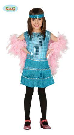 blaues Charleston Kleid mit Fransen und Pailletten für Mädchen Gr. 110-146