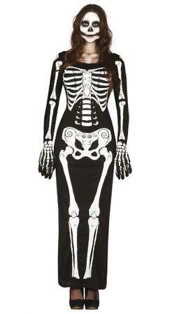 langes Skelett Kleid Kostüm für Damen Gr. M - L