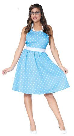 gepunktetes 50er Jahre Damen Kleid in blau Gr. M/L