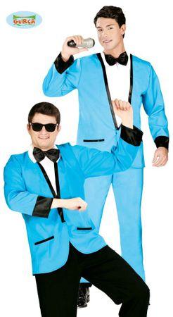 blauer Disco Anzug Kostüm für Herren Gr. M/L