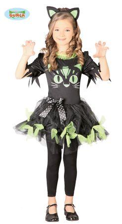 schwarz grünes Katzen Kleid Gr. 110-146