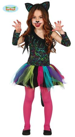 Regenbogen Leopard Kostüm für Mädchen Gr. 98-146