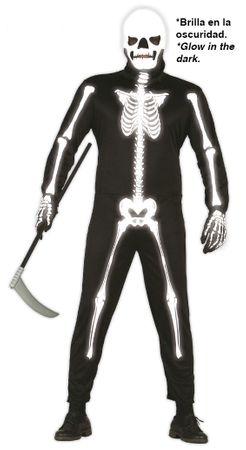Skelett Anzug mit Maske Kostüm für Herren Gr. M/L