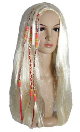 blonde Hippie Perücke mit bunten Strähnen für Damen