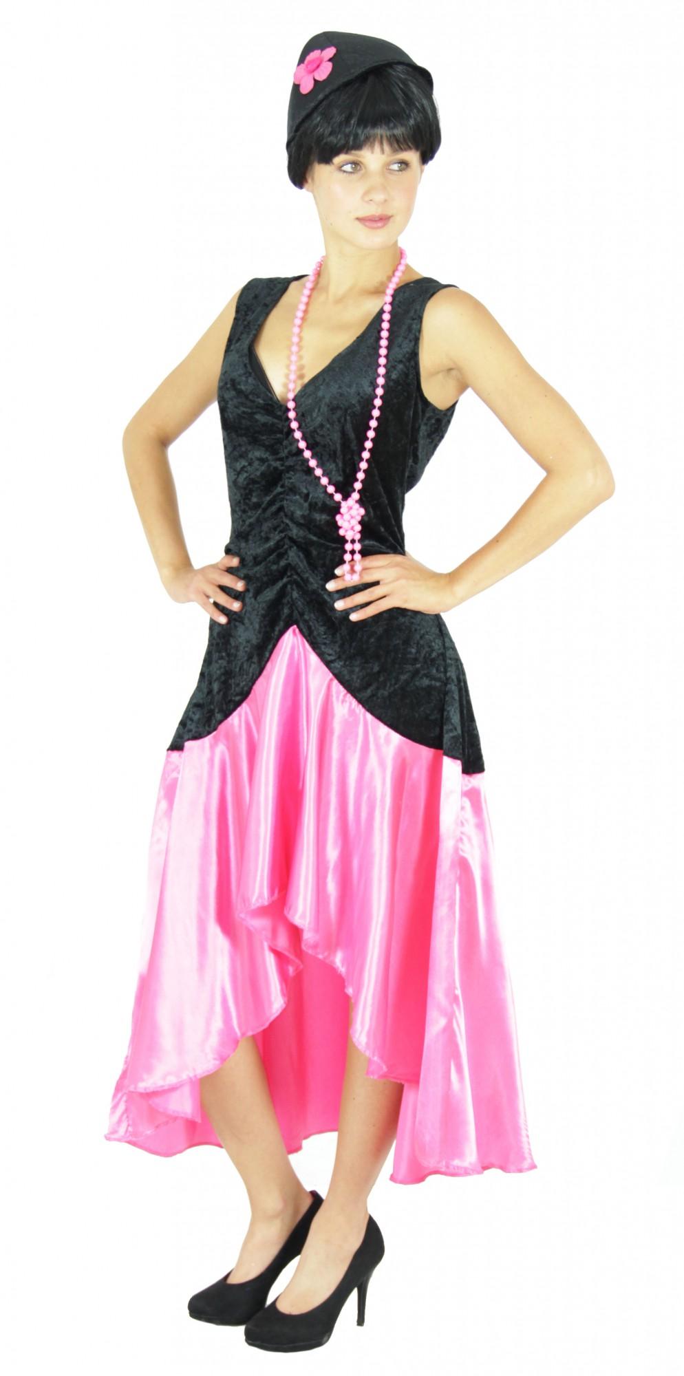 20er Jahre Gatsby Kleid Kostüm für Damen in pink Gr. S - XXL