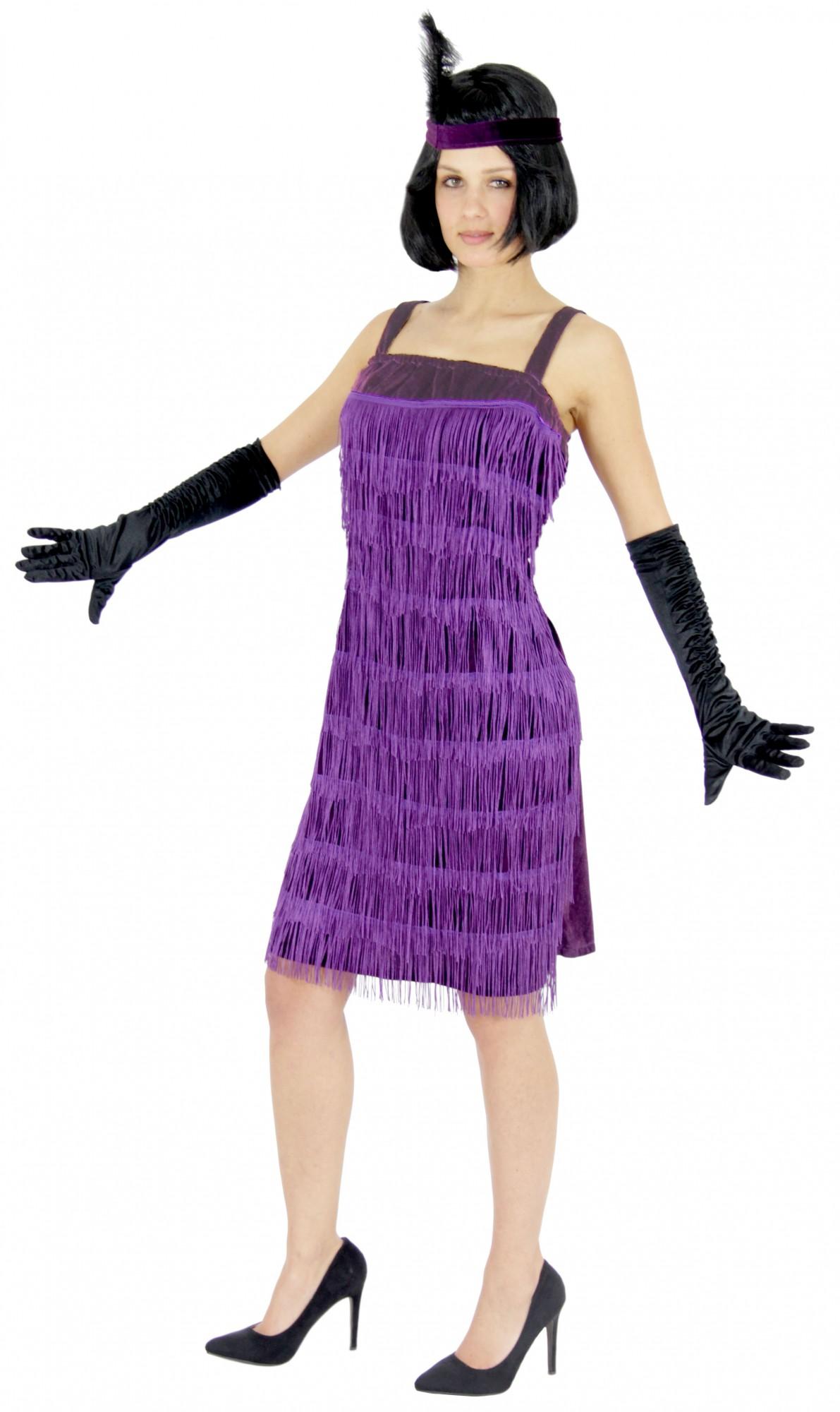 20er Jahre Charleston Kostüm in lila für Damen Gr. S - XXL