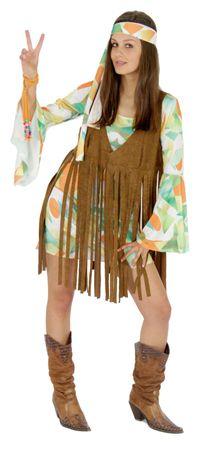 70er Jahre Kostüm mit Fransen Weste Hippie Damen Kleid Damenkostüm