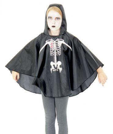 Skelett Party Poncho für Kinder