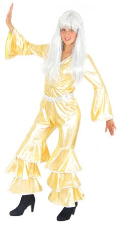 goldenes 70er Jahre Disco Kostüm für Damen Gr. S - XXL