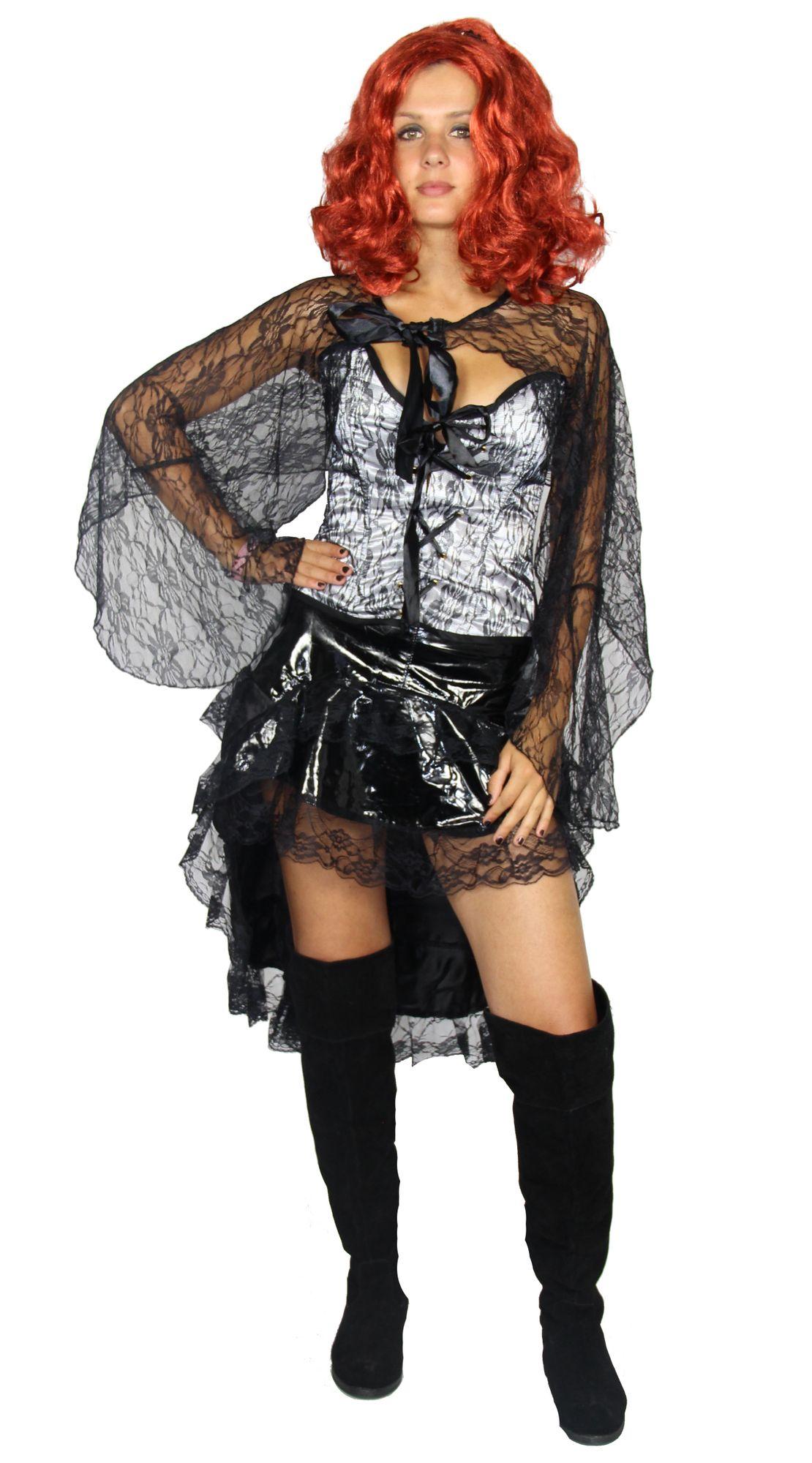 wei e corsage mit vokuhila rock saloongirl kost m f r damen gr xs l. Black Bedroom Furniture Sets. Home Design Ideas