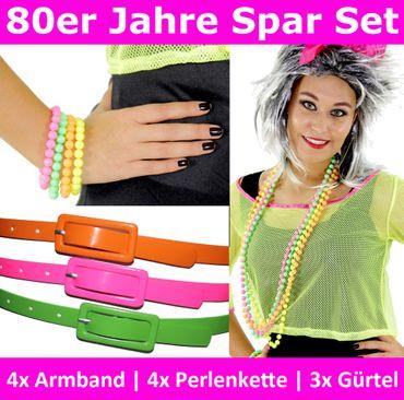 [Paket] 80er Jahre Neon Spar Set - 11-teilig 3x Gürtel 4x Perlenkette 4x Armband für Damen neonfarbene Kostüm Zubehör 80s