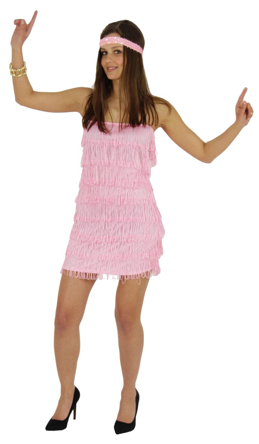 20er Jahre Damen Kleid Charleston Kostüm rosa pink