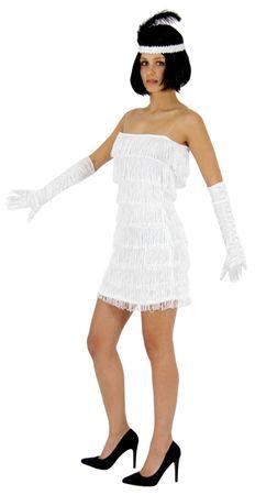 20er Jahre Damen Kleid Charleston Kostüm weiß