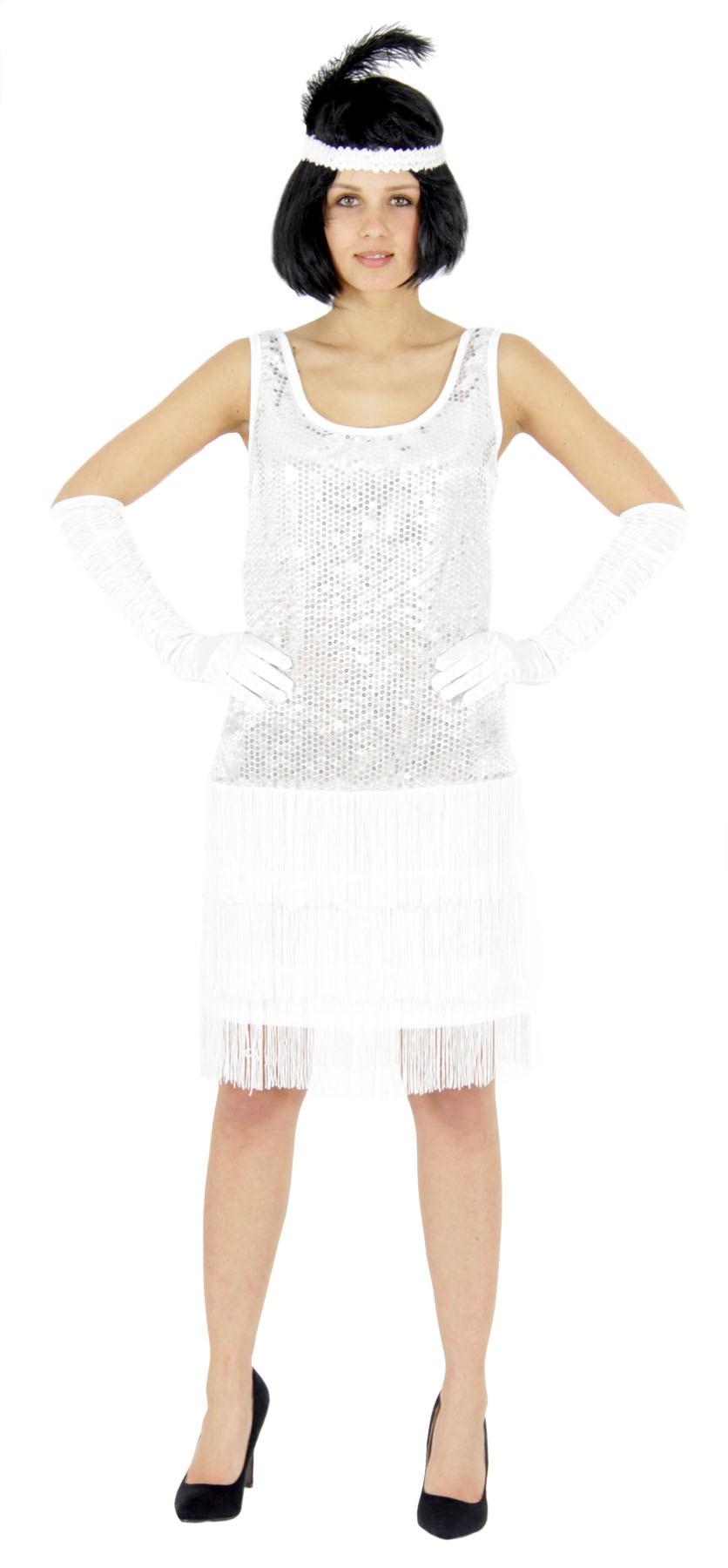 20er Jahre Damen Kleid Charleston Kostüm Mafia 20s Flapper weiß