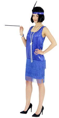20er Jahre Damen Kleid Charleston Kostüm Mafia 20s Flapper blau