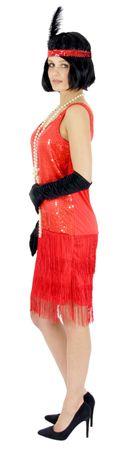 20er Jahre Damen Kleid Charleston Kostüm Mafia 20s Flapper rot