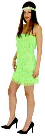 20er Jahre Damen Kleid Charleston Kostüm Fransen grün