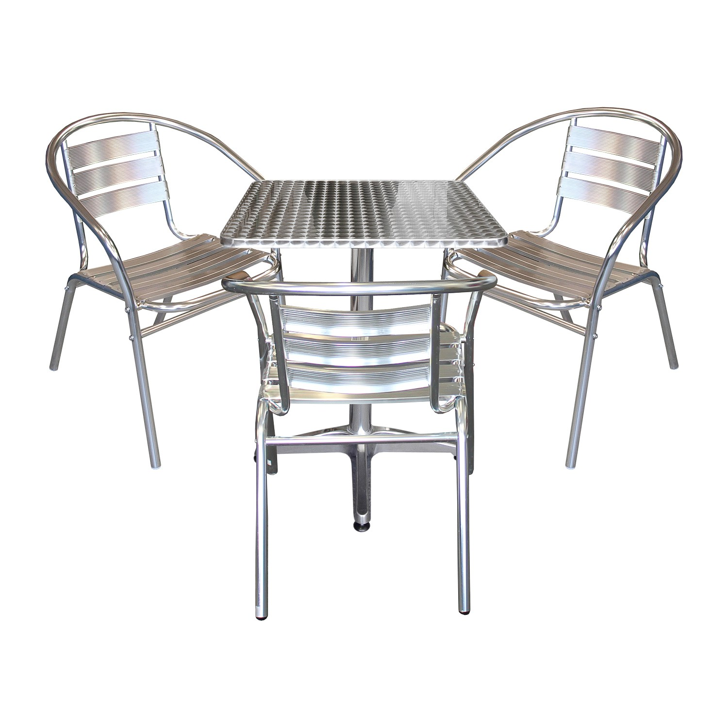 balkonm bel terrassenm bel bistrotisch klappbar 60x60cm 3x aluminium stapelstuhl ebay. Black Bedroom Furniture Sets. Home Design Ideas