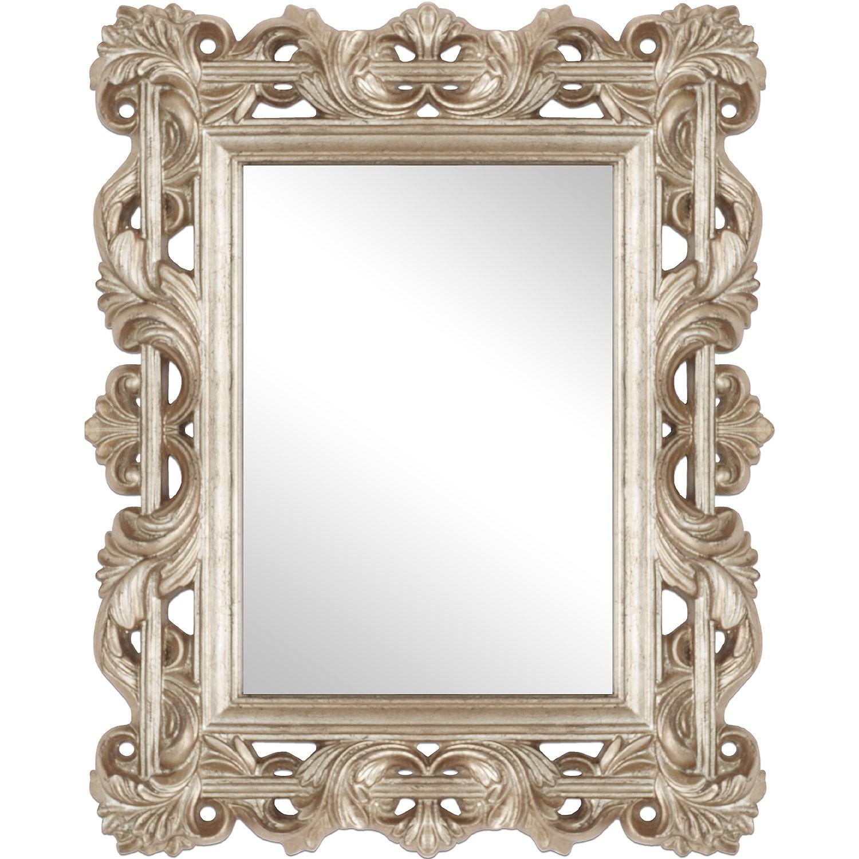prachtvoll verzierter wandspiegel 60x77cm barspiegel frisierspiegelsilbergold. Black Bedroom Furniture Sets. Home Design Ideas
