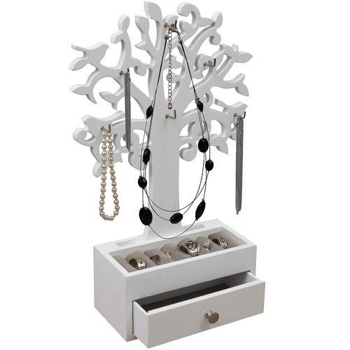 Schmuckbaum mit Schmuckkasten 19,5x8,5x31cm Holz/MDF in Weiß – Bild 1