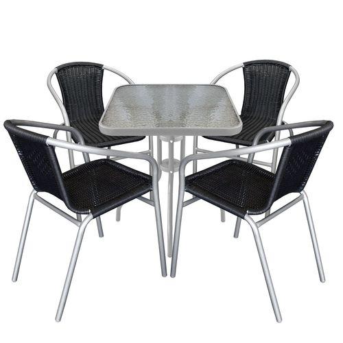 5tlg. Bistro-Set Glastisch 60x60cm Grau + Stapelstühle Polyrattan Schwarz / Grau – Bild 1