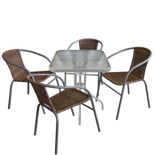 5tlg. Bistro-Set Glastisch 60x60cm + Stapelstuhl Polyrattan Cappuccino – Bild 1