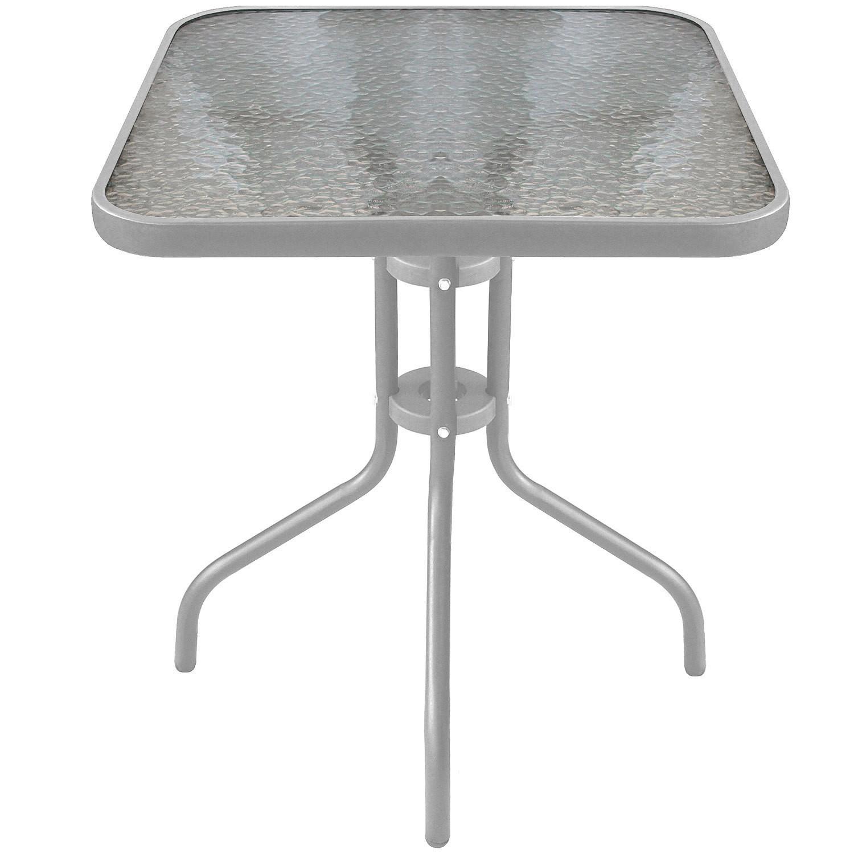 5tlg bistroset glastisch 60x60cm silber stapelstuhl aluminium garten gartenm bel. Black Bedroom Furniture Sets. Home Design Ideas