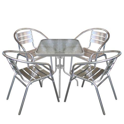 5tlg. Bistroset Glastisch 60x60cm Silber + Stapelstuhl Aluminium – Bild 1