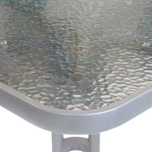 5tlg. Bistroset Glastisch 60x60cm Silber + Stapelstuhl Aluminium – Bild 3
