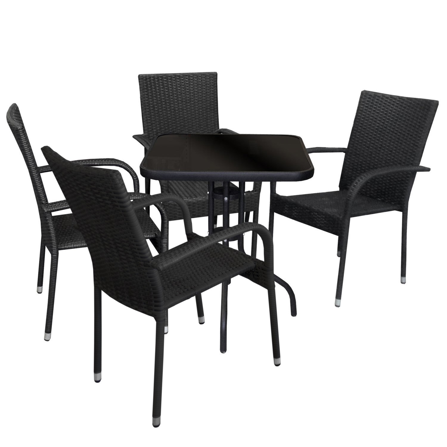 wohaga bistrotisch 60x60cm mit schwarzer glasplatte schwarz garten gartenm bel gartentische. Black Bedroom Furniture Sets. Home Design Ideas